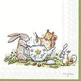 IHR Tea Party Papierservietten, Kaninchen, Eichhörnchen, Maus, 20 Stück, 33 cm quadratisch
