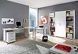 Büro komplett Arbeitszimmer komplette Büroeinrichtung 7-TLG in Weiß, Eckschreibtisch mit...