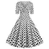 Kommunion Kleider,SANFASHION Damen Vintage V-Ausschnitt Dot Print Drapiert Partykleid Elegant 50er...