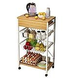 Küchenregale Einfache 3-Tier-Küche Trolley Wagen mit feststellbaren Rollen, Roll Utility Storage...