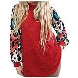 Floweworld Damenmode Sweatshirt Leopard gedruckt Langarm Patchwork Pullover Tops Shirts...