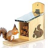 Skojig Eichhörnchen Futterhaus - fertig montiert aus Kiefernholz & 100% wetterfest | Futterstation...