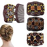 4 Stück Vintage Perlen Magie Haarklammer,Haarspangen Dehnbar,Doppel Kamm Haar Clips, Haarschmuck...