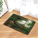 ZHWL6688 Sonnenlicht, grüner Wald, Grauer Steinbrunnen, orangeroter Pilz mit weißen Flecken, rote...
