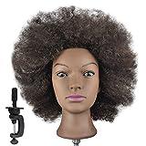 Trainingskopf, 100% echtes menschliches Haar, Friseurkopf, Afro-Frisur (Klemmerhalterung für...