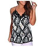 Kolila Damen Sommer ärmellose Blumendruck Casual Lace Stitching Tank Tops Leibchen Bluse Weste