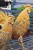 KUHEIGA 2er Set Hühner aus Metall, Edelrost Hühner, Gartenfiguren Hahn und Henne Metall