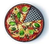 Pizzablech Ø 32 cm mit Antihaft-Wirkung, Backblech für tiefgekühlte & selbstgemachte Pizza, rund...