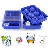 ZeaLife Eiswürfelform, 2 Stück Silikon Eiswürfel Form 45mm Eiskugelform mit Trichter 32mm 15-Fach...