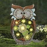 La Jolíe Muse Gartendeko Eule Solar Leuchte, aus Kunstharz Wetterfest, Weihnachten Geschenk Eule,...