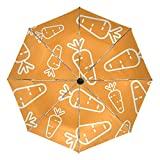 Regenschirm, Karotten-Muster, kompakter Reise-Regenschirm, für Outdoor-Regen, Sonne, Auto, faltbar,...