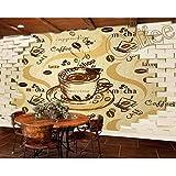 Pbldb Wasserdicht/Antifouling 3D Retro Vintage Cafe Restaurant Hintergrund Wandmalerei...