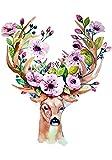 XWArtpic Kreative Tier Blume geweih elch Hirsch Buck Liebe Cartoon Kindergarten Kinderzimmer...