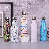 ZLKMQ Isolierte 500 ml-Wasserflasche, leckt Nicht aus der tragbaren Sportflasche, doppelwandiger...