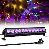 UV Beleuchtung, GLIME Schwarzlicht UV LED Lichteffekt 36W 12 LEDs UV Bar AC100-240V...
