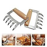 XUNPAS Fleischkrallen aus Metall mit Holzgriff, Beste Fleischkrallen zum Zerkleinern, Ziehen,...