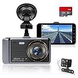 Abask Dashcam Auto Vorne und Hinten Autokamera mit 32 GB SD-Karte, 4 Zoll Full HD 1080P, 170...