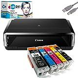 Canon PIXMA IP7250 Tintenstrahldrucker + USB Kabel & 5 kompatible Druckerpatronen der Marke ink24...