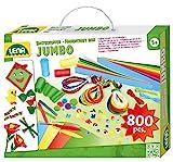 Lena 42629 Jumbo Bastelkoffer mit vielfältigem Material zum Basteln, mit Moosgummi, Buntpapier,...