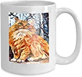 Kaffee-Haferl Teetasse Startseite Flauschige Maine Coon Katze Porträtmalerei Nasses Aquarellpapier...