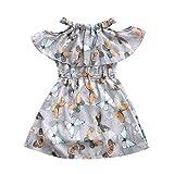 Baby - Mädchen Kleider Kleinkind Kinder Schmetterling Drucken Kalte Schulter Kleid Rüschen A-Linie...