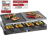 Clatronic RG 3518 Raclette-Grill mit heißem Stein zum Grillen und Überbacken, Wendegussplatte, 8...