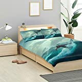 MONTOJ Escape from Shark Twin Design 3-teiliges Set Easy Fit Standard Twin Size Bezug mit 2...