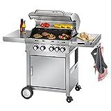 ProfiCook PC-GG 1059 Gasgrill, 4 Edelstahlbrenner + 1 zustzliche Kochstelle, 4 Heizzonen fr individ....