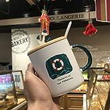 Doinbtoy Einfache nordische Kaffeetasse Creative Nautical Ceramic Mug 301-400ml Rettungsring