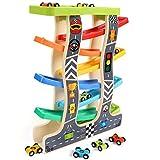 Lewo Kleinkind Spielzeug Holzrampe Racer für 1 2 3 Jahre alte Mädchen Jungen Holz Rennstrecke mit...