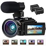 Videokamera 4K Camcorder Ultra HD Wi-Fi Digitalkamera 48MP IR-Nachtsicht 16X Digitalzoom Recorder...