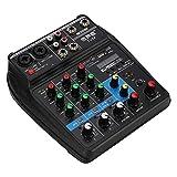Topiky USB-Kleinmixer, Mini-USB-Bluetooth-Soundkarte 4-Kanal-Mixer mit Digitalanzeige für...