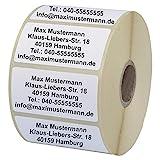 INDIGOS UG Namensaufkleber - Adressetiketten - Etiketten - 40x22 mm - 100 Stück - weiß mit schwarz...