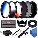 Beschoi 52mm Filter Set (CPL + ND4 + ND8) + Verlauf Farbe Filter (Orange + Blau + Grau) +...