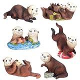 YTC Sea Otters Sammelfigur Statue Skulptur Figur, 6 Stück