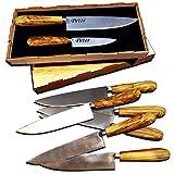 Messer Set mit Griff aus Olivenholz - graviert mit Wunschgravur, Klinge aus Molybdän Vanadium 380,...