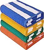 Utopia Towels - 4er Pack XXL Strandtuch Baumwolle Cabana Stripe - 76 x 152 cm, Variett Pack