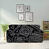 LMFshop Cartoon Filled Outline Hand Drawn Retro Elegant Couch Cover Cushion Sofa Cover Fitted...