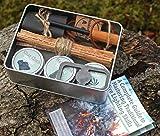 Bushcraft Feueranzünder-Set, traditionell geschmiedet, Feuerstein und Stahl, Ferro-Stange,...