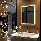 EMKE Wandspiegel Badezimmerspiegel LED Badspiegel mit Beleuchtung 50x70cm Warmweiß 3000K, Spiegel...