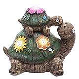 TERESA'S COLLECTIONS Schildkröte Gartenfiguren LED Solarlampe Gartendekoration aus Kunstharz 17cm...