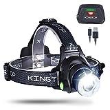 KINGTOP LED Stirnlampe Wasserdicht USB Wiederaufladbare LED Kopflampe, 3 Lichtmodi 600lm, Perfekt fr...