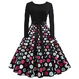 ‿ JUSTSELL 1950er 50er Kleider für Damen Herbst,Frauen Polka Dots Drucken Aline Swing Kleid Lange...
