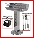 Grill-Holzkohle Sulengrill Edelstahl Standgrill gro B/H/T 32 x 74 x 53cm Grillflche mit Aschebehlter...