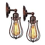 KINGSO 2er Wandlampe Industrial E27 Vintage Wandleuchte rustikal innen schwenkbar für Schlafzimmer...