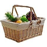 SCDZS Wicker Rattan Obstkorb, groe Kapazitts Multifunktionale Fruit Snack Gemsespeicherkorb