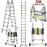 5 M Teleskopleiter Auszeihleiter aus Hochwertigem Aluminium Leiter Aluleiter Mehrzweckleiter...