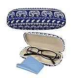 Brillenetui Damen Bohemia Elefant-Druck Brillenetui mit blauem Putztuch (blauer Brillenetui)