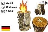 5 x Schwedenfeuer inkl. Anznder | Finnenfeuer | Baumstammfackel |Gartenfackel | Lichtrollen |...