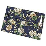 Rhododendron Blumenmuster Tischsets Teller Matten für Esstisch 6er Set